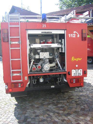Heck des TLF 2000, ehem. TLF 16/24 Tr., der Feuerwehr Westerkappeln