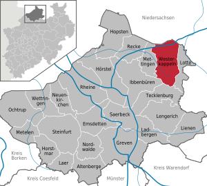 Lage von Westerkappeln im Kreis Steinfurt
