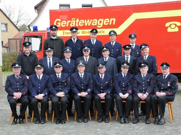 Gruppenbild der Ehrenabteilung der Feuerwehr Westerkappeln